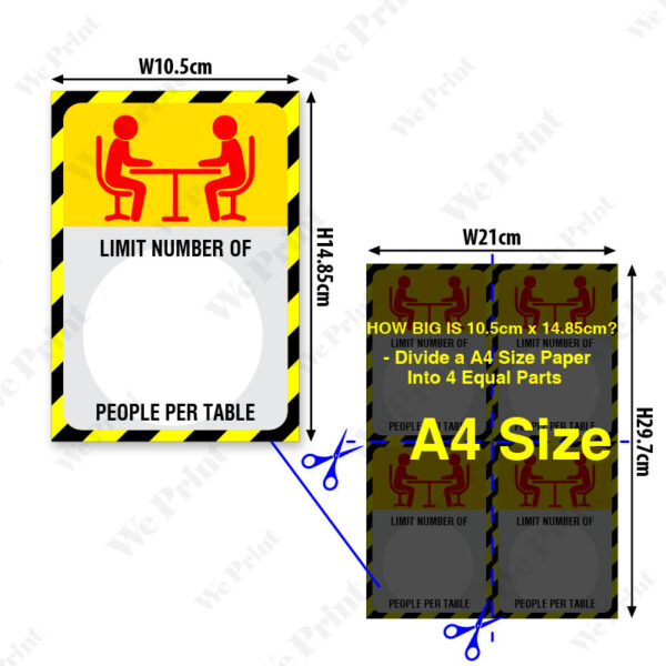 A6 Size Social Distancing Table Top Sticker in English