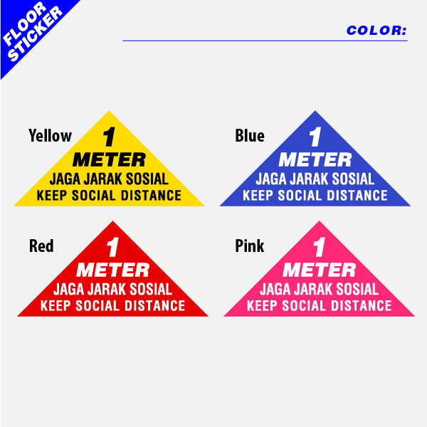 Social Distancing Floor Sticker Triangular Shape Color