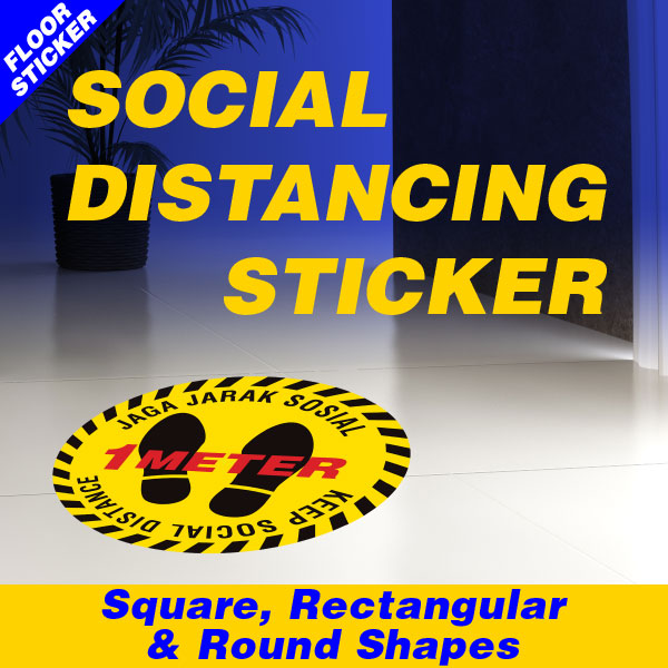 Social Distancing Floor Sticker in Square, Rectangular & Round Shapes