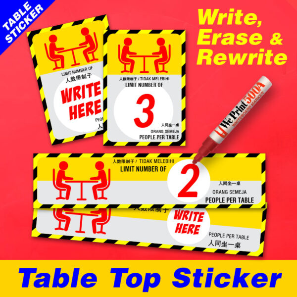 Social Distancing Table Top Sticker